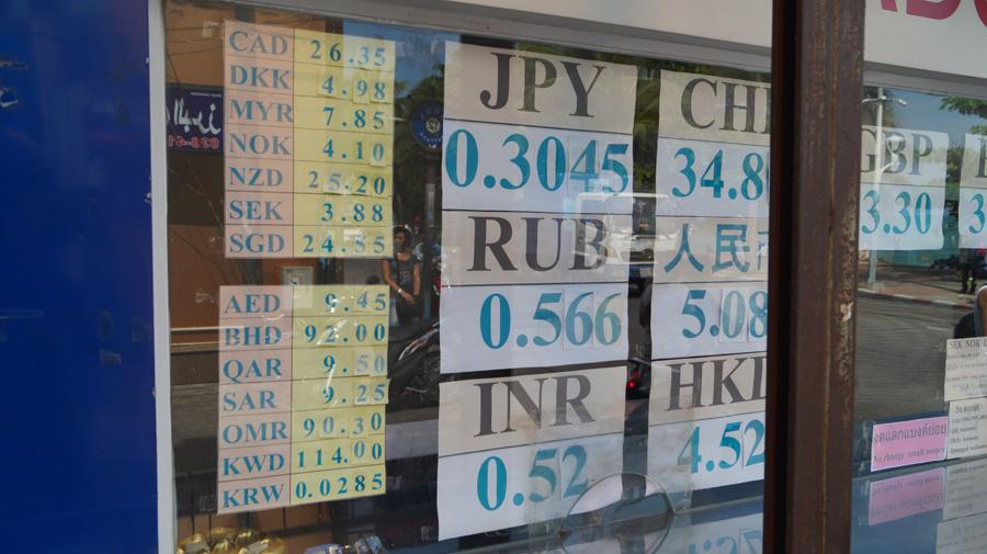 Курс рубля в паттайе сегодня в обменниках