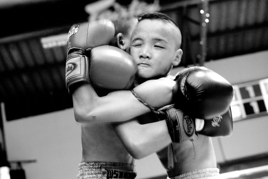 Boxing match between two boys